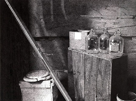 Cider Bottles is a still life taken from a room inside of a log cabin on a farm close to where I lived for several years in northern Minnesota.  Please see the Black Ink Paintings Page for image and print sizes at;  stipplefineart.com