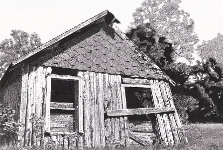 Vertical Log House is named because of its unusual logs in an upright position.  For information on image and prints please see the Black Ink Paintings Page at;  stipplefineart.com